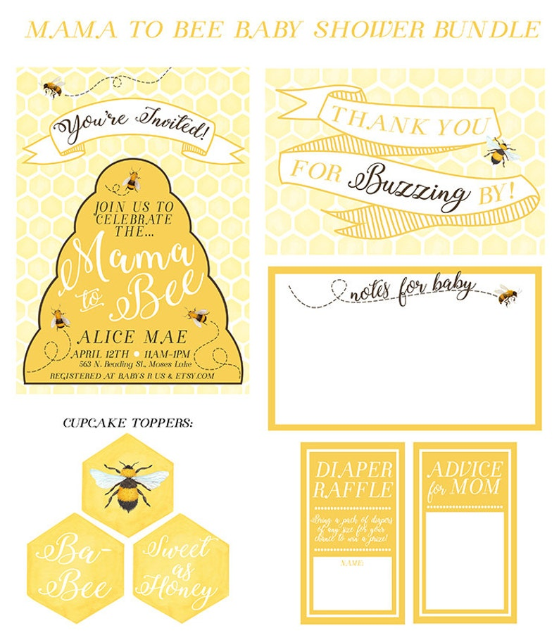 Bee Themed Baby Shower Baby Shower Kit PRINTABLE Printable Baby Shower Kit Mama to Bee Invitation