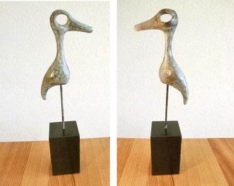 "BIRD Massive bronze sculpture/ beak and eye from nature/  on 1.6"" brass rod as leg in black granite pedestal/ length 9""leg included"