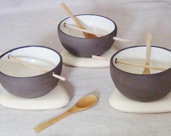 Bowls: wood and ceramic