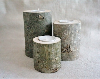 Trio of ash wood candle holders