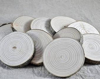 10 Rondelles 5 / 6 cm en bois brut - frêne