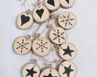 12 black washers - decoration raw wooden Christmas balls
