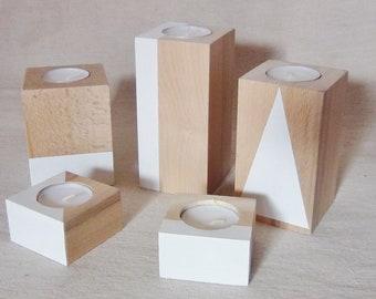 1 Unique batch of wooden candlesticks