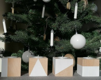 4 square candlesticks made of raw beech wood - white paint