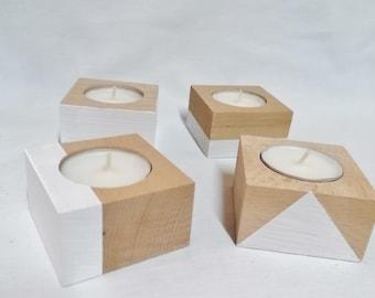 4 candlesticks raw beech wood - white paint