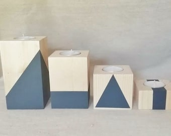 4 wooden candlesticks with Scandinavian design GRIS antracite - OXZO collection