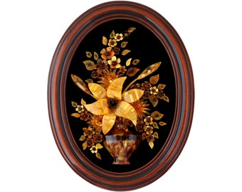 Decorative Collectibles Lily Flower Baltic Amber Framed Picture Carved 3d Mosaic Bouquet Rare Wall Art