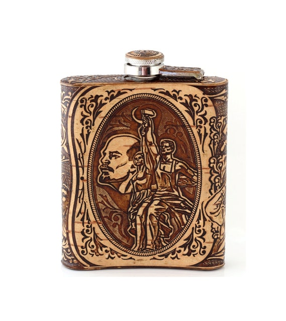 8 fl oz Stainless Steel Pocket Flask w// USSR Coat of Arms
