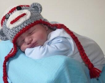 Crochet baby monkey hat, new baby hat,baby photo prop, baby monkey, crochet hat, cute baby hat, owl photo prop