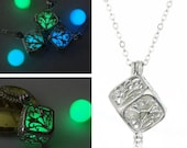 1PC Life Tree Necklace Amazing Glow In The Dark Necklace Luminous necklace Cube Pendant Glowing Jewelry Glowing Pendant
