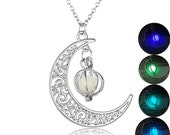 1PC Glowing Crescent Moon Necklace,Glowing Orb Necklace,glow in the dark necklace,twilight necklace,Halloween jewelry,halloween gift