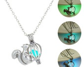 1PC Squirrel Charm Necklace Glow In The Dark Necklace Luminous necklace Cube Pendant Glowing Jewelry Glowing Pendant Mermaid Necklace