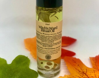 Witch's Ward 10ml Ritual Oil: Protection & Releasing Negative Attachments   Witchcraft   Pagan   Ritual Perfume   Samhain   Skull Oil   Goth