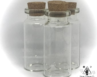 Empty 10ml Glass Jar with Cork for Witchcraft & Spell Bottles   Herb Necklaces   Travel Kits   Altar Supply   Pagan   Bulk Quantities too!