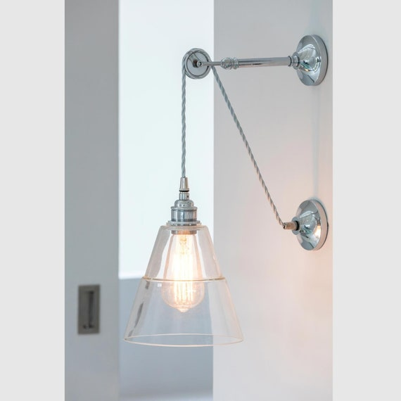 watch 08e0f edab1 Pulley Wall Light / Industrial Wall Sconce / Rigale Coolie Wall Light /  Brass + Glass / 4 Color Finishes / 11.4x6.9x12.4