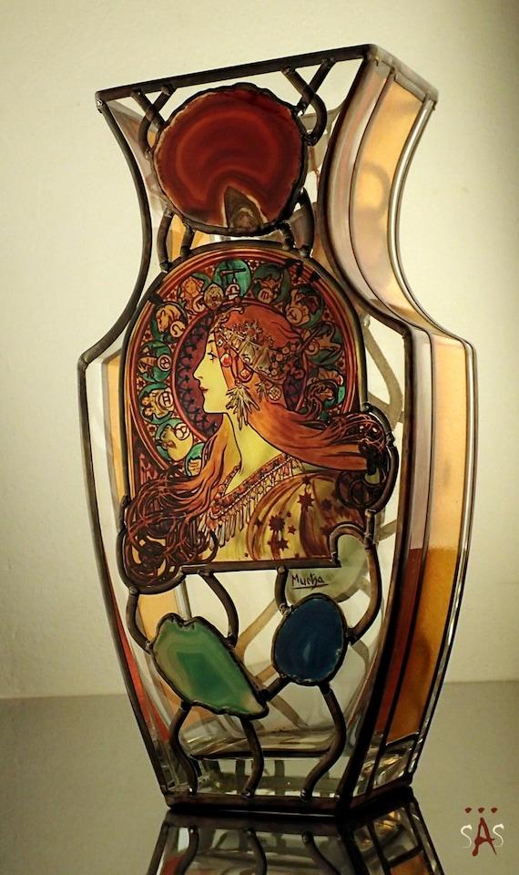 Alphonse Mucha Zodiac Vase Original Sekyt Art Studio Etsy