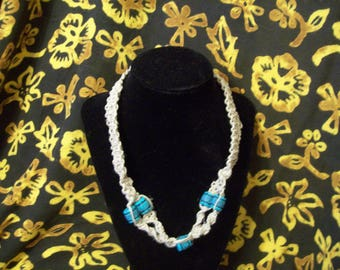 Hand-Knotted Hemp and Turquoise Choker