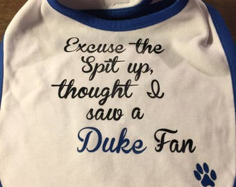 UK bib   Excuse the spit up, thought I saw a Duke fan   Fun baby gift