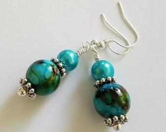 Teal & Aqua Earrings, Beaded Earrings