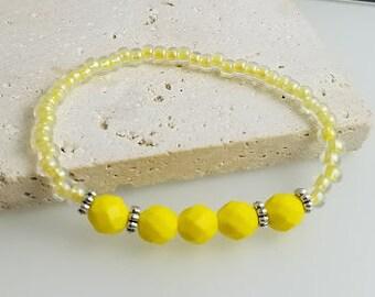 Yellow Stretch Bracelet, Beaded Bracelet, Stretch Bracelet