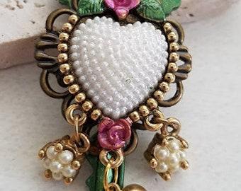 Key Heart Necklace, Altered Key Necklace, Vintage Jewelry, Heart Jewelry, Key Jewelry (NK2456)