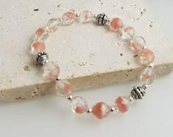 Coral Stretch Bracelet, Stretch Bracelet, Beaded Bracelet