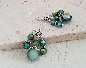 Seafoam Green Beaded Earrings