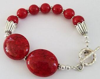 Red & Silver Bracelet, Acrylic Bead Bracelet