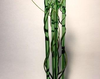 Tall Green glass hanging air plant terrarium 11 x 1.75 x  1.75