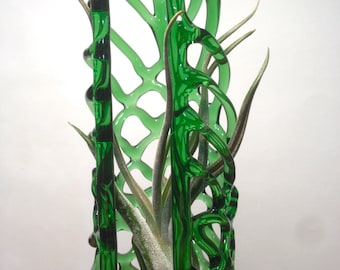 Hanging Green glass knitted airplant terrarium 6.75 x2.5 x2.5 in