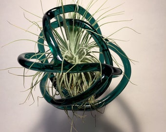 Hanging Turquoise glass knot, air plant terrarium 4.5 x 5 x 5