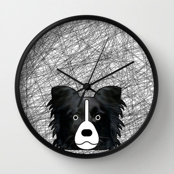 Border Collie Wall Clock Black And White Home Decor Modern Dog Etsy