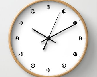 Wooden wall clock, large wall clock, housewarming gift, graphic wall clock, geometric clock, black and white design, clock with numbers,