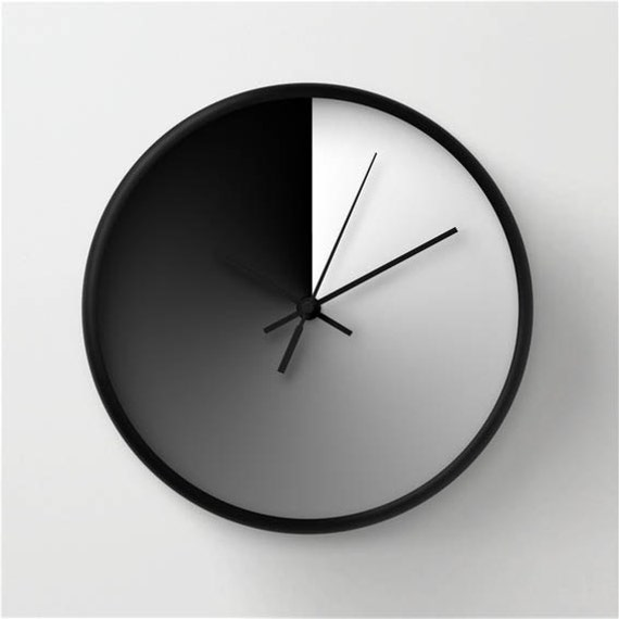 . Midday sign wall clock  modern wall clock  gradient wall clock  black and  white  home decor  gray shadow ornament  wall decor
