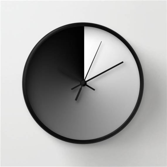 horloge murale moderne design noir et blanc d coration etsy. Black Bedroom Furniture Sets. Home Design Ideas