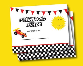 Cub Scout Pinewood Derby Award Certificate 8x10inch Instant Digital Download
