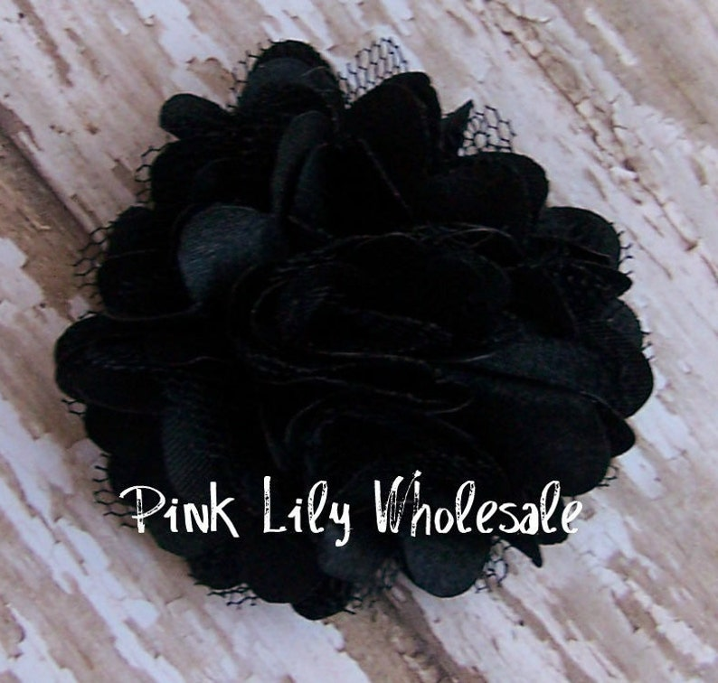 Small Flower Craft Flower TWO Black Wholesale Flower TWO Black Mini Satin Mesh Flowers Craft Supplies -DIY