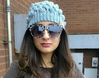Light Turquoise Beanie, Pop Corn Textured Stitch, Wool Blend Winter Hat Teen Girls Ladies