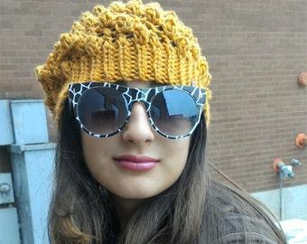 Yellow Beanie, Pop Corn Textured Stitch, Crochet Yellow Hat Teen Girls Ladies