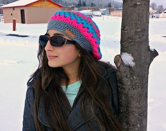 slouchy hat| striped slouchy beanie| ladies winter hat| pink stripe hat| beret