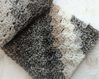 handmade crochet striped scarf, cozy soft winter neck scarf, ivory brown stripes