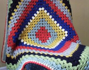 striped granny square blanket rainbow stripe afghan baby blanket