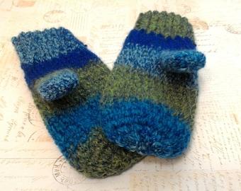 crochet mittens mismatch random stripes ladies mittens OSFM