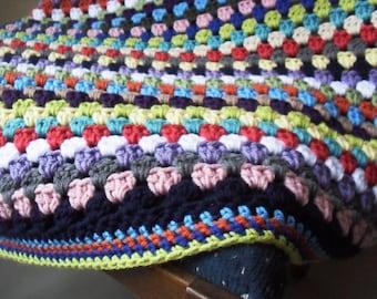 rainbow stripe sofa throw crochet modern granny stitch afghan