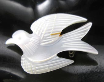 Vintage Mother of Pearl Flying Dove Bird Brooch Pin