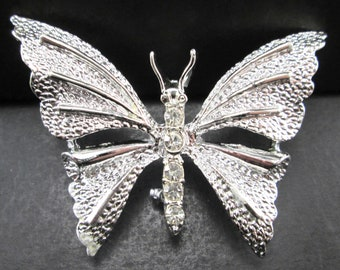 Vintage Gerry's Rhinestone Silver Tn Butterfly Brooch Pin Signed