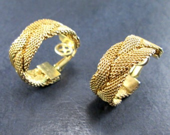 Vintage Bergere Gold Tn Woven Band Hoop Earrings Clip On 60s Signed Bergère