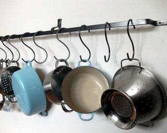 Wall pot rack, bespoke lengths, pan, hanging, kitchen, mounted, made to measure