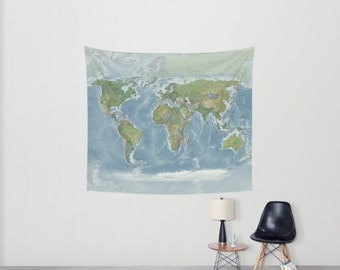 World Map Tapestry Wall Hanging Modern Current Map Print Etsy