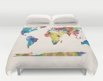 Map duvet cover etsy world map duvet cover colorful geometric map modern bedroom travel decor cozy soft dorm guest room warm wanderlust gumiabroncs Gallery